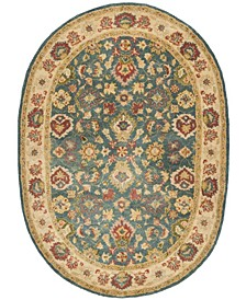 """Antiquity At15 Blue and Beige 7'6"""" x 9'6"""" Oval Area Rug"""