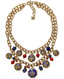 "Gold-Tone Bead & Charm Layered Necklace, 18"" + 2"" extender"