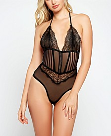 Gwen Lace and Striped Mesh Lace Up Bodysuit