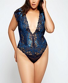 Plus Size Natalia Lace and Mesh Teddy Bodysuit, Online Only
