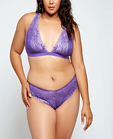 Plus Size Eva Two Toned Stretch Lace Lingerie Set, Online Only