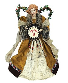 "16"" Country Poinsettia Angel Tree Topper"