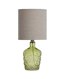 Textured Glass Accent Lamp with An Open Bottom Design
