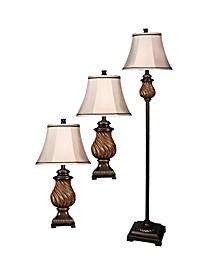Linen Fabric Shade Floor and Table Lamp Set, Pack of 3