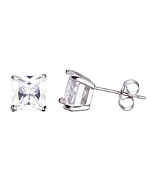 Stainless Steel Clear Square Cubic Zirconia Earrings