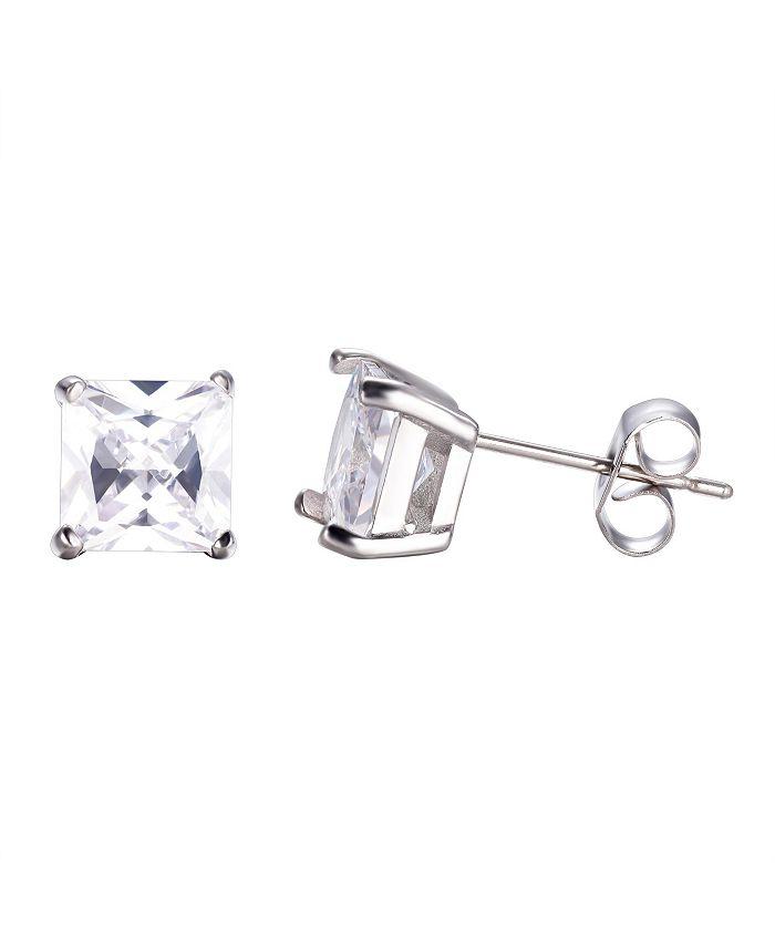 He Rocks - Stainless Steel Clear Square Cubic Zirconia Earrings