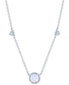 "Lab-Created Opal (5mm) & Diamond Accent Round Pendant Necklace in Sterling Silver, 16"" + 2"" extender"