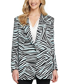 Printed Oversized One-Button Blazer