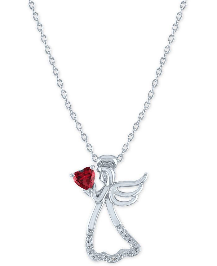 """Macy's - Lab-Created Ruby (1/3 ct. t.w.) & Diamond Accent Angel Pendant Necklace in Sterling Silver, 16"""" + 2"""" extender"""