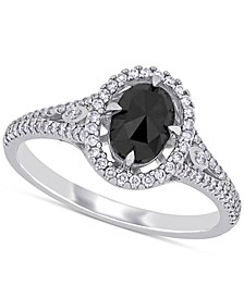 Diamond Oval Black Halo Engagement Ring (1 ct. t.w.) in 14k White Gold