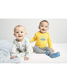 Baby Boy 3-Pc. Cotton Dinosaur Coveralls, Bodysuit & Footie Pants Set