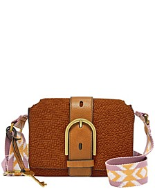 Wiley Vintage-Like Woven Emboss Leather Saddle Crossbody