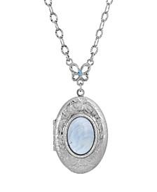 Silver-Tone Semi Precious Oval Stone Locket Necklace