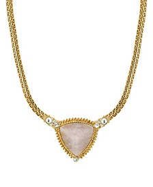 Gold-Tone Peach Semi Precious Triangle Stone Necklace