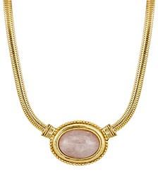 Gold-Tone Semi Precious Oval Stone Necklace