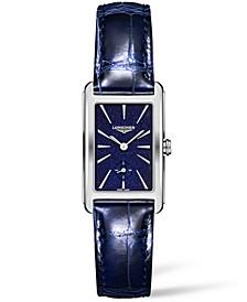 Women's Swiss DolceVita Blue Leather Strap Watch 23x37mm
