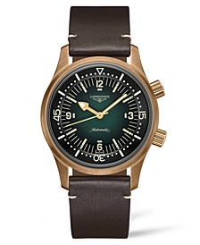 Men's Swiss Automatic Legend Diver Brown Leather Strap Watch 42mm