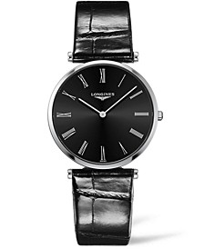 Women's Swiss La Grande Classique De Longines Black Alligator Leather Strap Watch 36mm