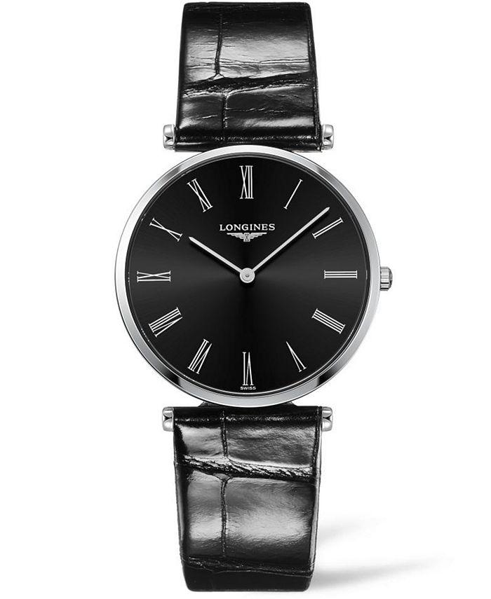 Longines - Women's Swiss La Grande Classique De  Black Alligator Leather Strap Watch 36mm