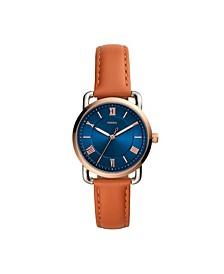 Women's Copeland Brown Leather Strap Watch 34mm