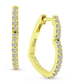 Cubic Zirconia Small Heart Hoop Earrings in 18k Gold-Plated Sterling Silver, Created for Macy's