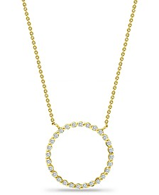 "Cubic Zirconia Open Circle Pendant Necklace in 18k Gold-Plated Sterling Silver, 16"" + 2"" extender, Created for Macy's"
