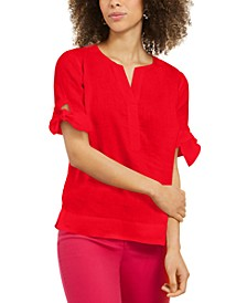 Plus Size Tie Sleeve Top, Created for Macy's