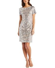 Embellished Sequinned Sheath Dress