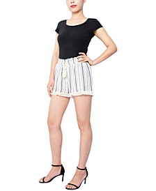 Juniors' Fringe-Trim Shorts