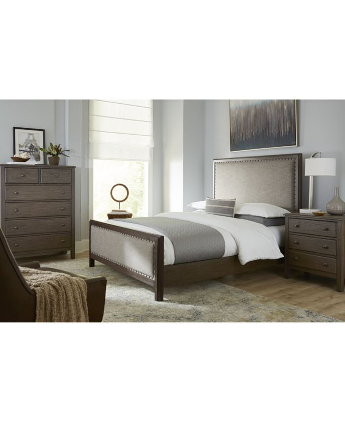 Furniture Parker Mocha Upholstered Bedroom Furniture 3-Pc. Set (Queen Bed, Chest & Nightstand), Created for Macy's & Reviews - Furniture - Macy's