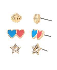 Heart Star Stud Gold-tone Metal Earrings