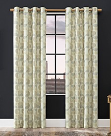 "Drake Mid-Century Geometric Semi-Sheer Grommet Curtain Panel, 84"" x 50"""