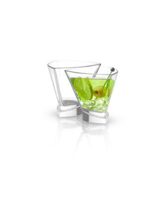 Aqua Vitae Off Base Triangle Martini Glasses, Set of 2