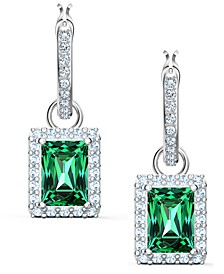 Silver-Tone Green Crystal Rectangular Charm Convertible Hoop Earrings