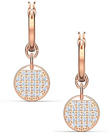 Rose Gold-Tone Crystal Coin Convertible Hoop Earrings