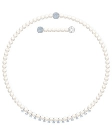 "Silver-Tone Crystal & Imitation Pearl Magnetic Collar Necklace, 15-5/8"" + 1"" extender"