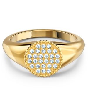 Swarovski GOLD-TONE CRYSTAL SIGNET RING