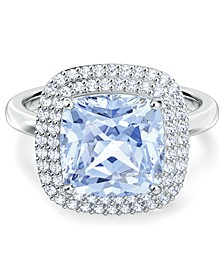 Silver-Tone Pavé & Blue Crystal Ring
