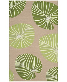 Lily Pad MSR2212B Tan and Green 3' x 5' Area Rug