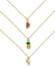 "Gold-Tone 3-Pc. Set Pavé Pineapple Pendant Necklaces, 16"" + 3"" extender"