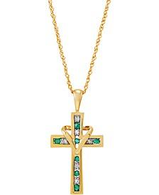 "Emerald (1/4 ct. t.w.) & Diamond (1/20 ct. t.w.) Cross & Heart 18"" Pendant Necklace in 10k Gold"