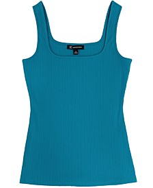 INC Plus Size Square-Neck Ribbed Tank, Created for Macy's