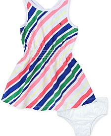 Baby Girls Striped Fit & Flare Tank Dress & Diaper Cover Set