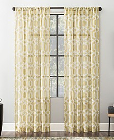 "Sloane 52"" x 63"" Trellis Print Linen Blend Sheer Curtain Panel"