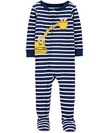 Baby Boys Construction Koala Footed Cotton Pajamas