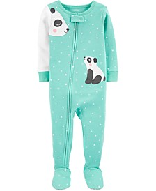 Baby Girls Panda Dot Footed Cotton Pajamas
