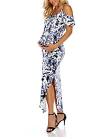 Maternity Plus Size Cold Shoulder Tie-Dye Maxi Dress
