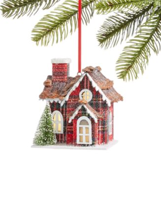 Christmas Cheer Paper House with LED ligh Ornament