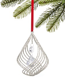Holiday lane crystal white glitter spiral with hanging bead ornament, Created for Macy's