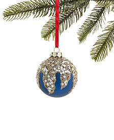 Midnite Blue Glass Ball with Sequins and Beads Ornament, Created for Macy's